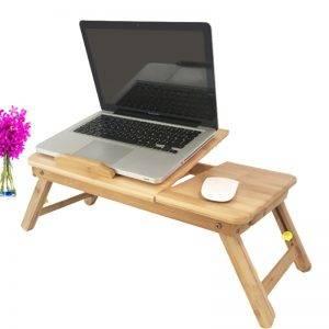 Ventillátor hűtéses állítható bambuszfa laptop tartó - fiókkal