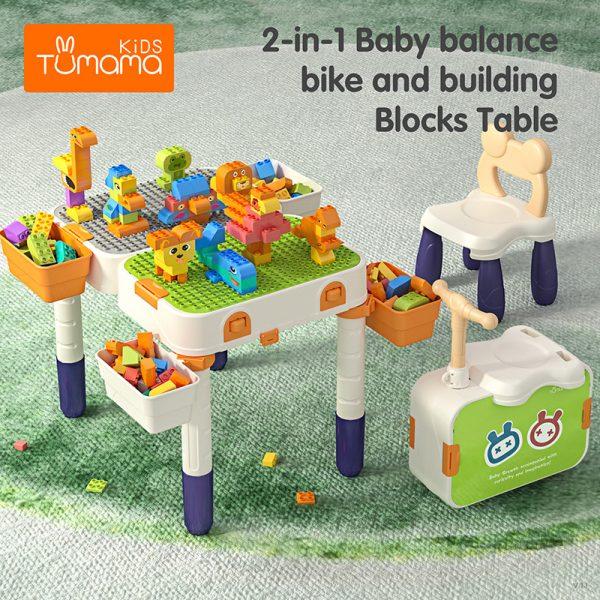 TUMAMA Multifunkciós Játszó asztal, roller, szék és építőkocka készlet