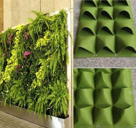 Függőleges falra akasztható zsebes virágtartó